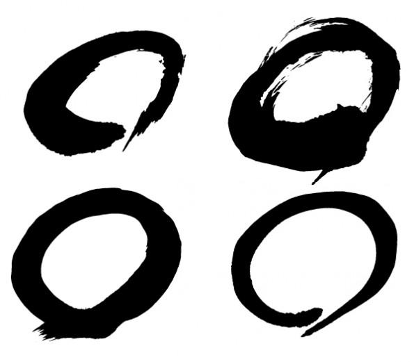 墨で勢いよく書いた丸