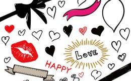 ベクター無料素材「バレンタインセット」