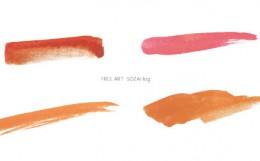 水彩オレンジ下線ライン素材フリー素材