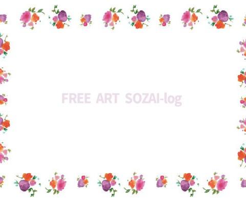 フリー素材「手描きの小花のフレーム」