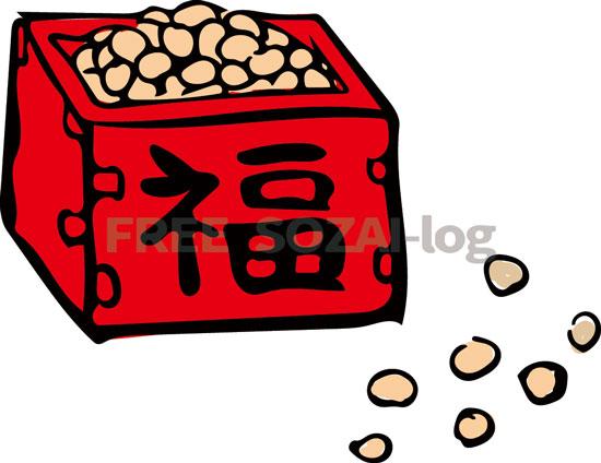 節分イラスト「升に入った福豆」