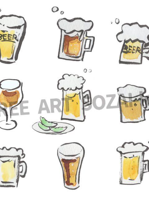 手描きビールイラスト